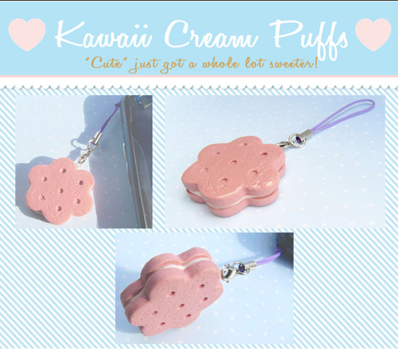 Strawberry Cookie Cellphone Strap by kawaiicreampuffs