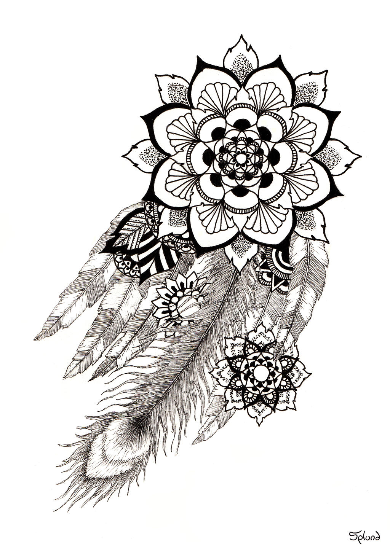 Feathers Mandala By Splund Art Watch Traditional Drawings