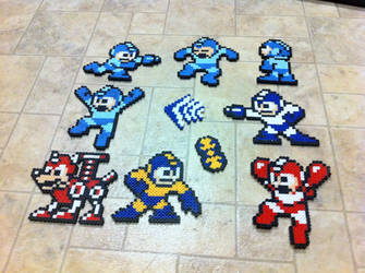 Mega Men bead sprites by Flames2Earth