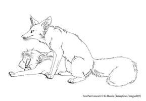 Fox Pair Lineart by Krissyfawx