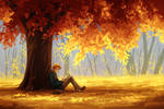 The Silver Eye - Enel Reading Under a Tree