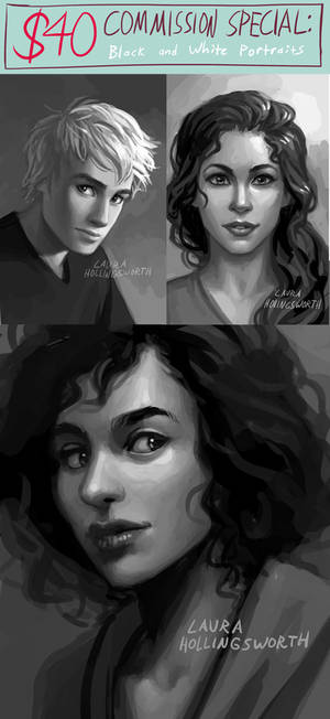 Commission Special: $40 Black and White Portrait