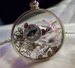 Steampunk Floating Crystals Glass Memory Locket
