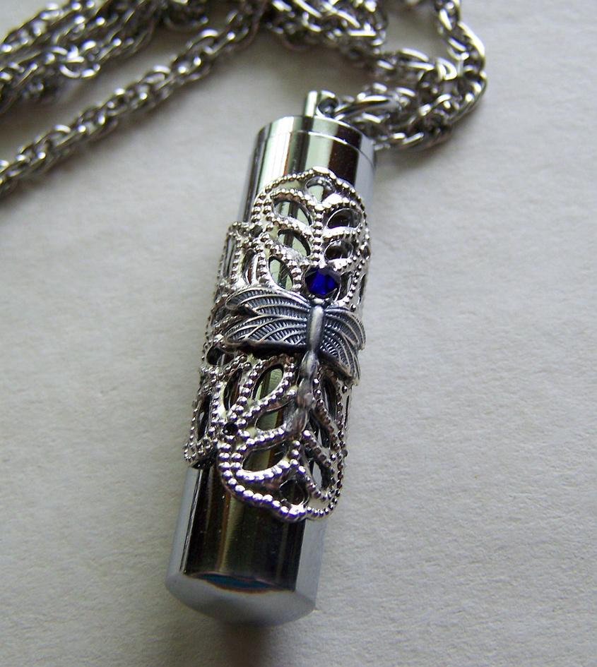 Silver Filigree Dragonfly Keepsake Capsule Pendant by mymysticgems