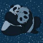 Blue panda hug by DitaDiPolvere