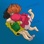 Ponyo and Sosuke hug by DitaDiPolvere