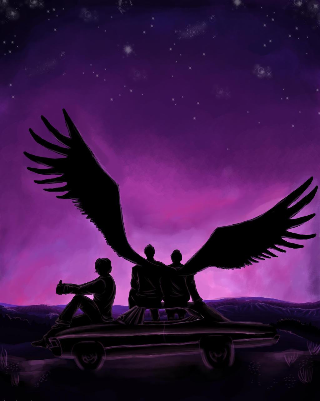 Purple Wings Supernatural Fan Art By Merakiandmangoes On