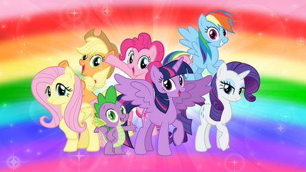 The Mane Six and Spike 2 by AndoAnimalia
