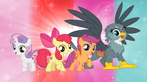 The Cutie Mark Crusaders and Gabby the Griffon