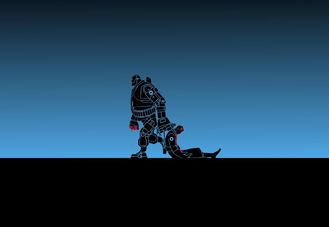 TF2: Heavy-bot x Medix ( Wallpaper ) by Bielek