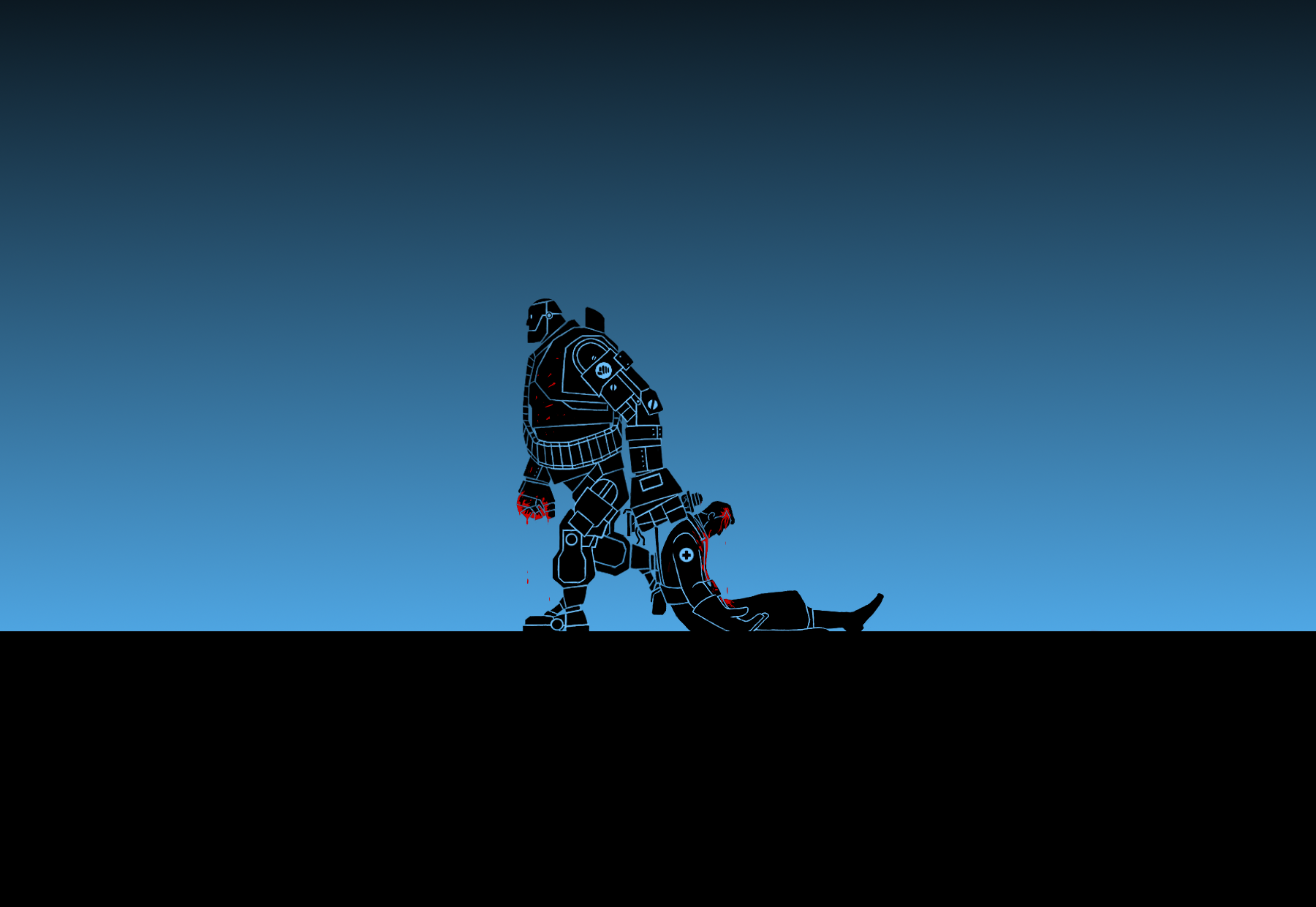 TF2: Heavy-bot x Medix ( Wallpaper ) by Bielek