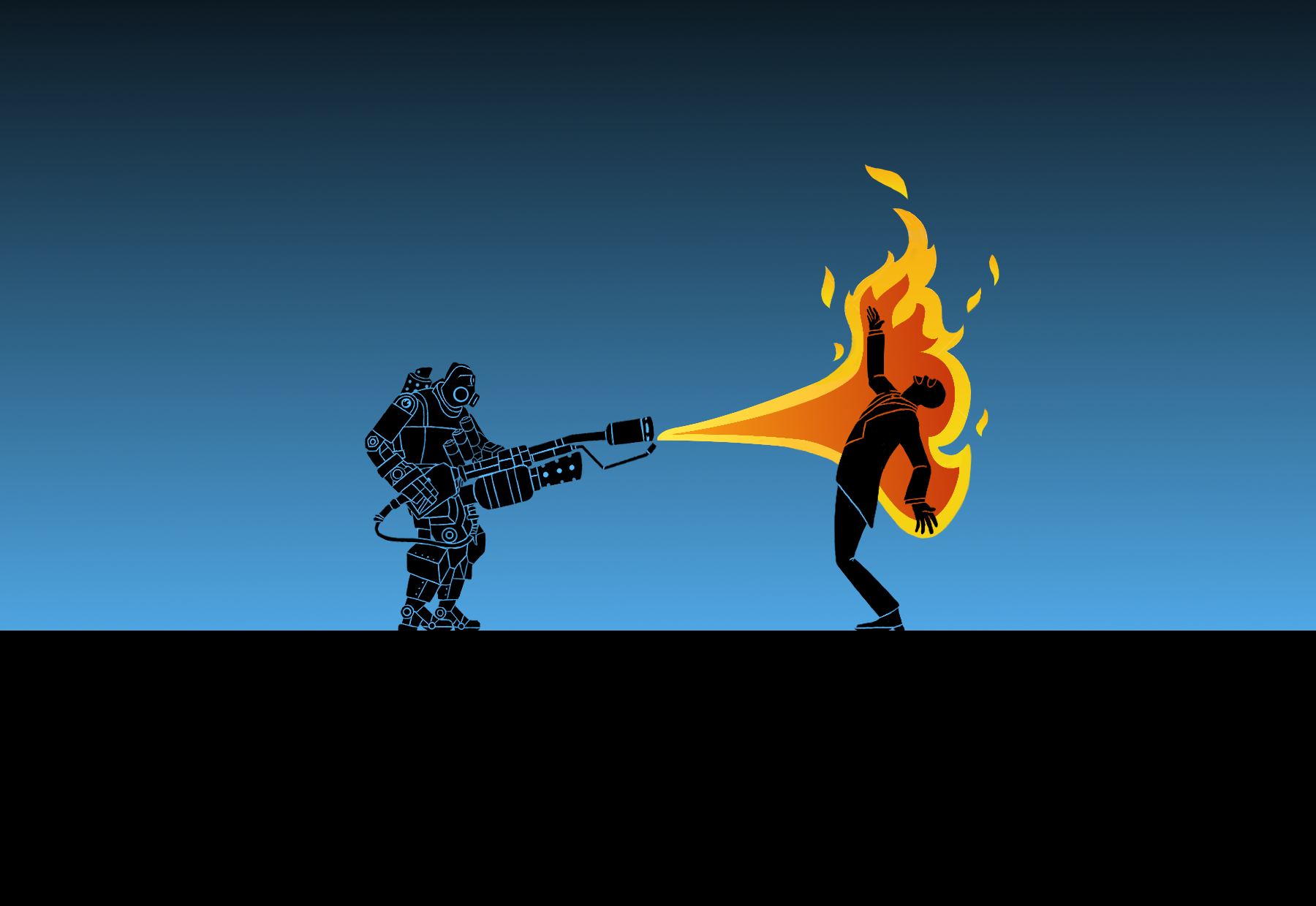 TF2: Pyro-bot x Spy ( Wallpaper ) by Bielek