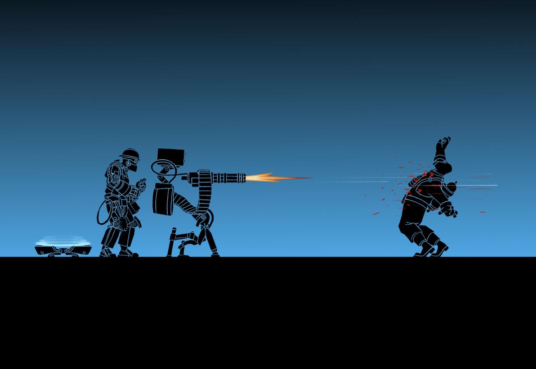 TF2: Engineer-bot x Pyro ( Wallpaper ) by Bielek