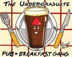 The Pub+Breakfast Gang Sticker by AaronSmurfMurphy
