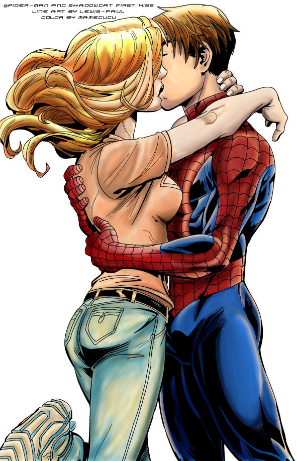 Spiderman Shadowcat first kiss by Mamecucu