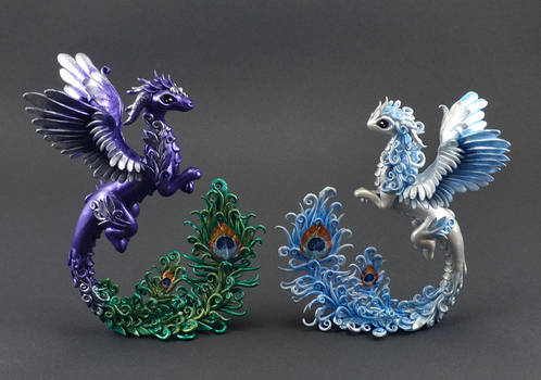 Dragons with peacock feathers