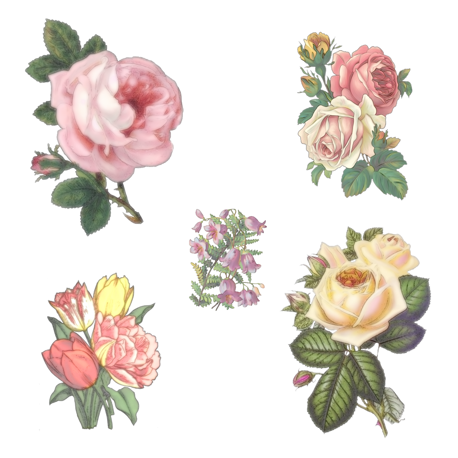 Vintage Flowers Part - 15: 5 Vintage Flowers By Victorian-Lady ...