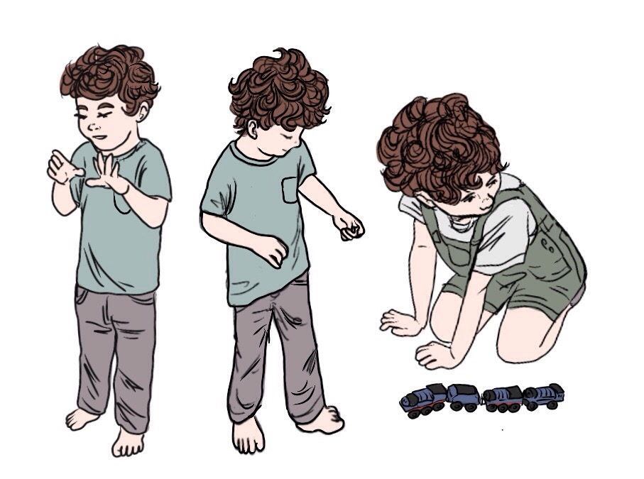 Drawings of a child stimming and lining up toys
