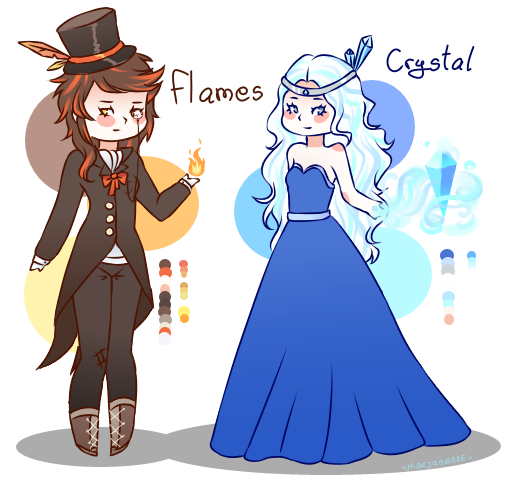 New ocs - Flames and Crystal by MarjanettE