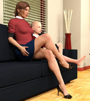 Alexandra Watching TV with her Son