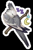 STICKER: Sweet Dreams, Cockatiel by Brushfeather