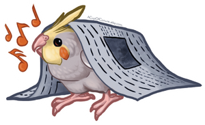 STICKER: Cockatiel Newsie by Brushfeather
