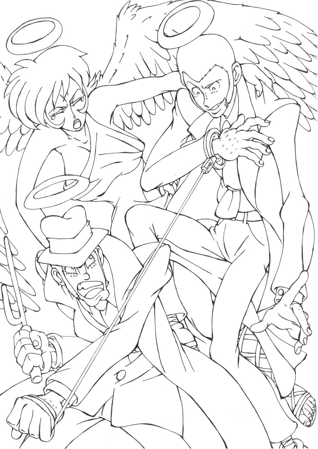 LupinIII Eternal Chase Lineart by shinlyver