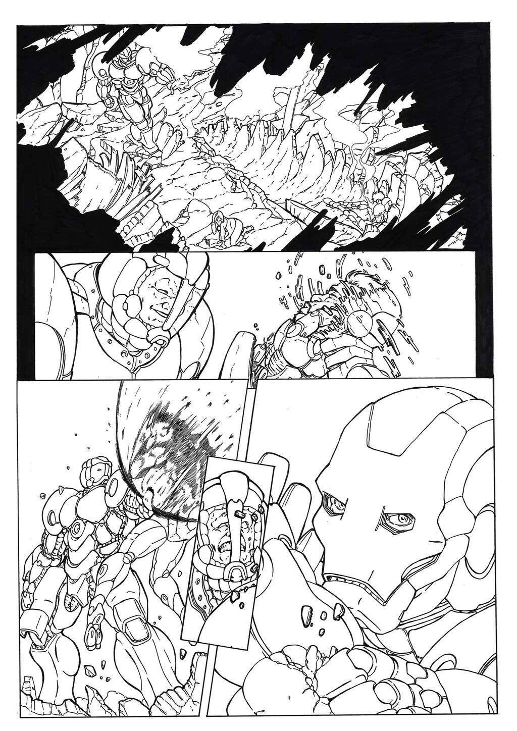 Iron Man Comic: Page 02 Ink by shinlyver