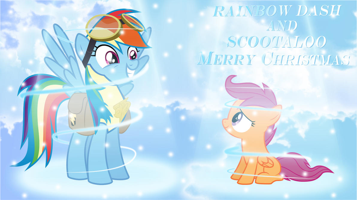 RainbowDash and Scootaloo - Merry christmas by KyssS90