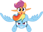 Vector Rainbow Dash and scootaloo happy by Kyss.S