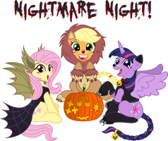 Fluttershy,AppleJack,Twilight S [Nightmare Night!]