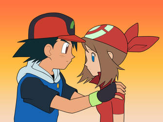 Ash and May. :Lineart: Colored by Clone118
