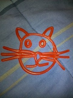 Cat Head made out of Pull N' Peel Twizzlers by keyblader007