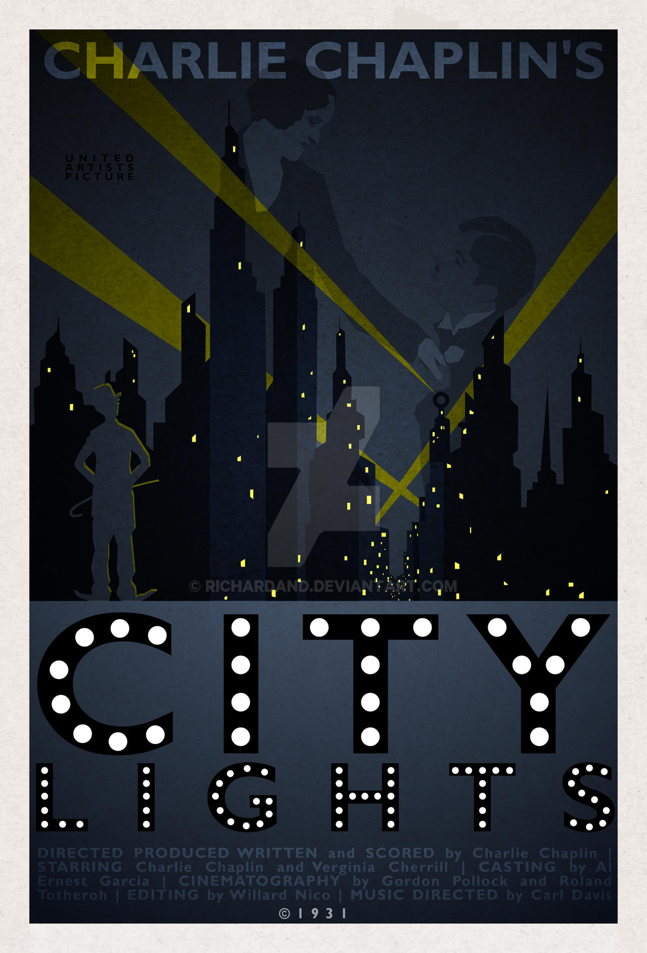 Charlie Chaplin in City Lights 1931 Poster by richardand ...