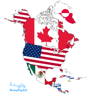 North America map flag