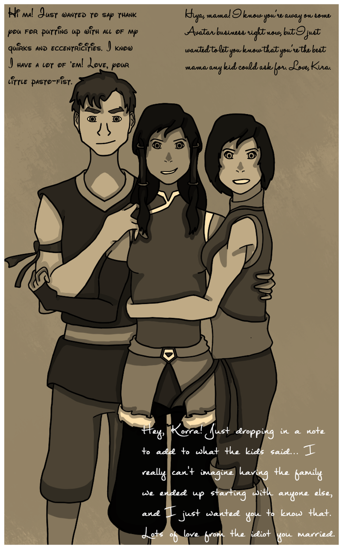 Korra And Her Babies (Version 3) by divsalley