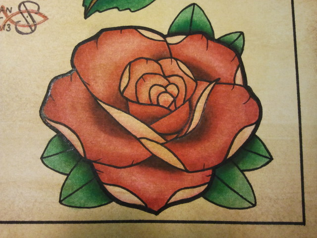 Tattoo flash neo traditional rose 01 by bass slinger on for Neo traditional rose tattoo