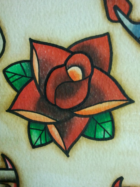 Tattoo flash small rose by bass slinger on deviantart for Small tattoo flash