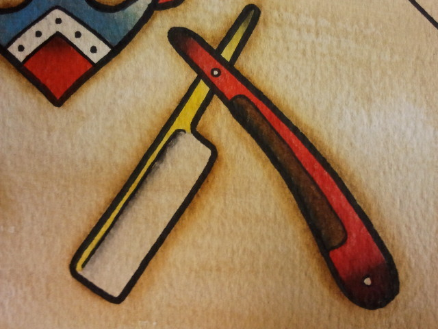 Tattoo flash straight razor by bass slinger on deviantart for Straight edge razor tattoo