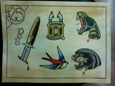 Tattoo Flash: Working Flash Sheet 02 by Bass-Slinger