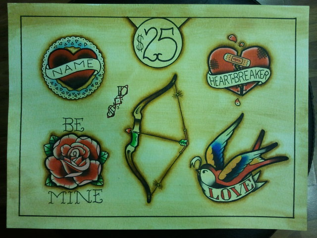 Tattoo flash valentine 39 s day flash sheet by bass slinger for Valentine s day tattoos