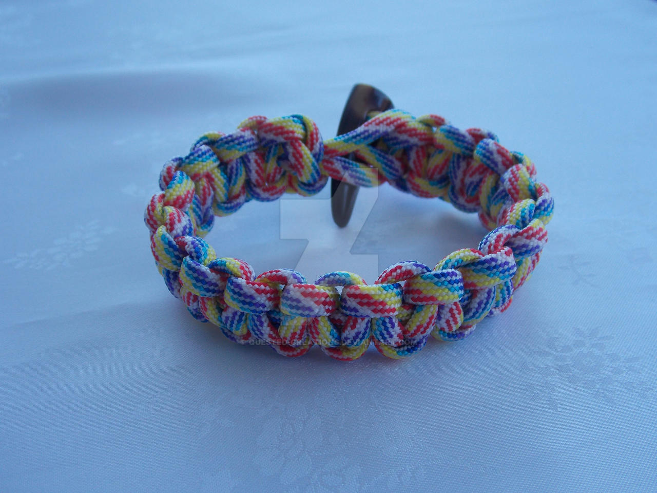 Rainbow coloured paracord bracelet by quested creations on for Paracord wallpaper