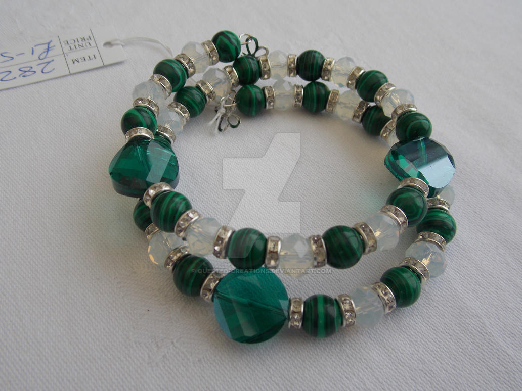 Malachite and moonstone memory wire bracelet 282 by Quested ...
