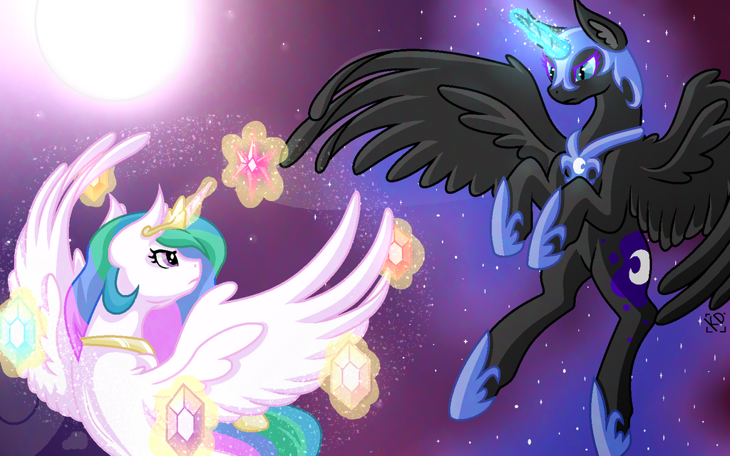 Celestia vs Nightmare Moon by Amazing-ArtSong on DeviantArt