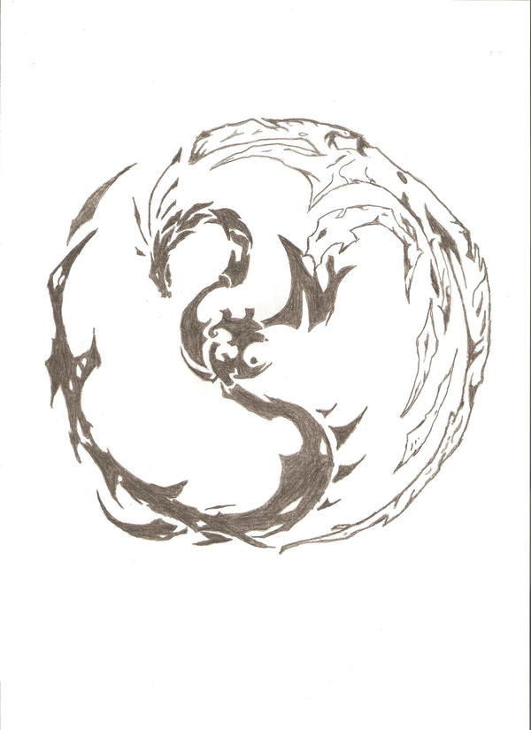 how to draw a yin yang dragon
