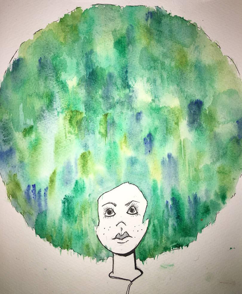 Watercolour Afro  by CKballoon