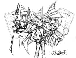 Black Magicians and Yugi WIP by Horoko