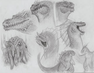 More Godzilla Free-Minded Drawing by MonsterKingOfKarmen