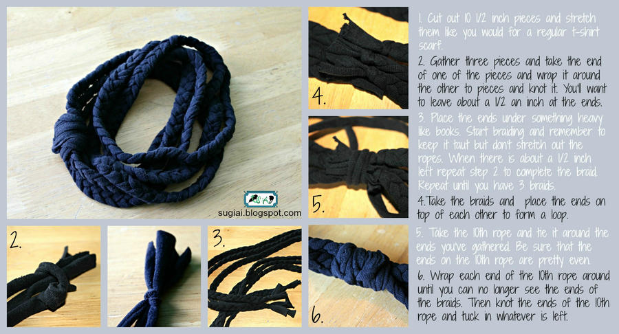 Braided T-shirt Scarf Tutorial by SugiAi