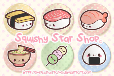 Happy Japanese Food button set by x-SquishyStar-x